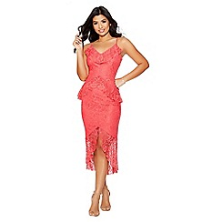 Quiz - Coral lace frill midi dress