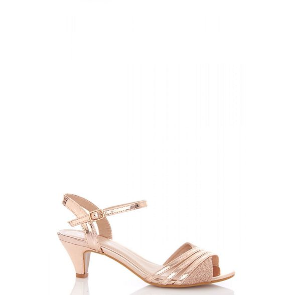 metallic low Quiz Rose strap sandals gold heel ERxSqxUn