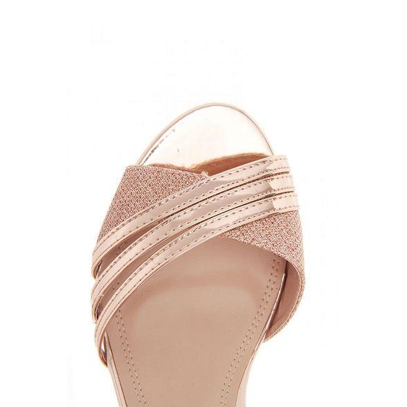 metallic Quiz sandals Rose gold strap heel low EqZqC