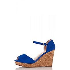 Quiz - Blue faux suede peep toe wedge shoes