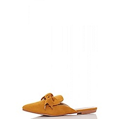 Quiz - Mustard bow front backless loafers