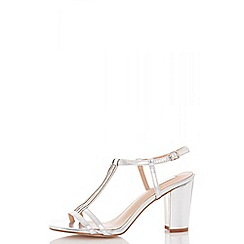 Quiz - Silver metallic double strap sandals