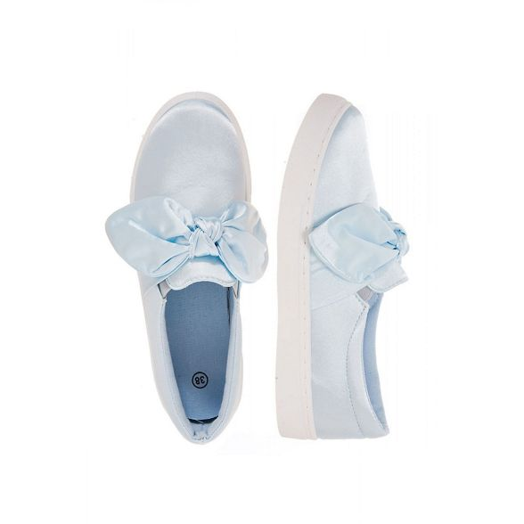 Quiz trainers slip satin Blue front bow on YIqYrxwO