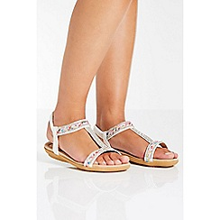 Quiz - White embellished strap flat sandals
