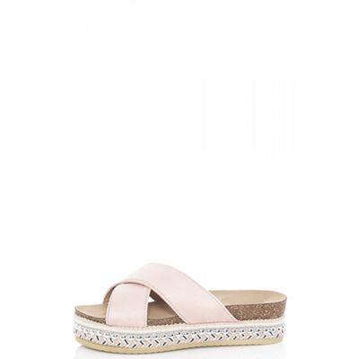 f20519f5ea4 Quiz - Pink faux suede embellished flatform mules
