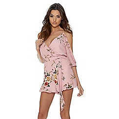 Quiz - Pink cold shoulder floral playsuit