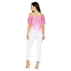 Quiz - Pink crochet ombre bardot top
