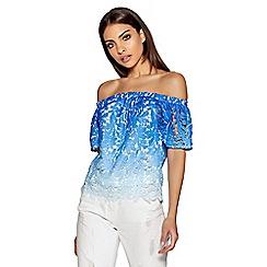 Quiz - Blue crochet ombre bardot top