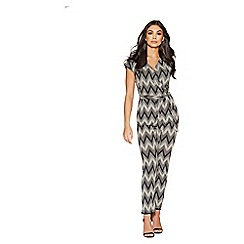 Quiz - Black and stone zig zag jumpsuit