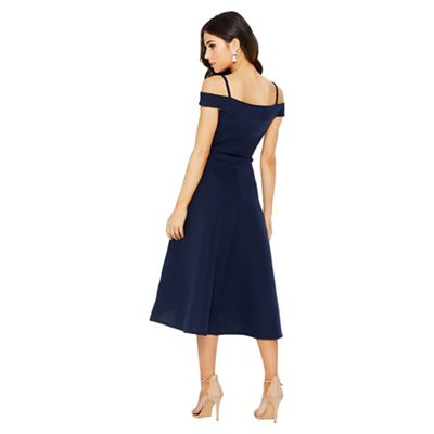 Quiz   Navy Stripe Detail Dip Hem Dress by Quiz