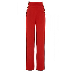 Quiz - Red crepe high waist palazzo trousers