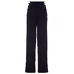 Quiz - Navy crepe high waist palazzo trousers