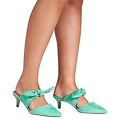 Quiz - Green faux suede low heel mules