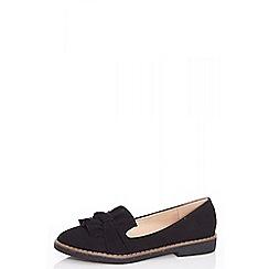 Quiz - Black faux suede loafers