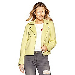 Quiz - Pale yellow faux suede zip detail biker jacket