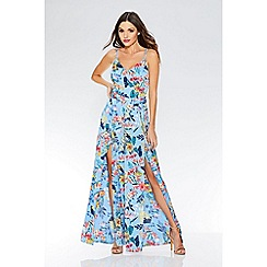 Quiz - Blue floral print tie belt jumpsuit
