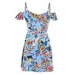 Quiz - Blue satin floral print cold shoulder skater dress