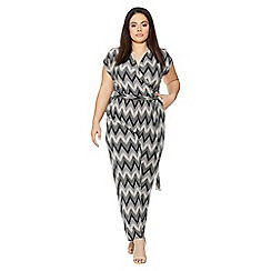 Quiz - Curve black and stone zig zag jumpsuit