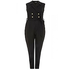 Quiz - Curve black lapel button jumpsuit