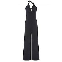 Quiz - Black halter neck split leg jumpsuit
