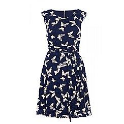 Quiz - Navy butterfly print dress