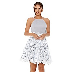 Quiz - Grey and cream lace skater dress