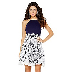 Quiz - Navy and cream lace skater dress