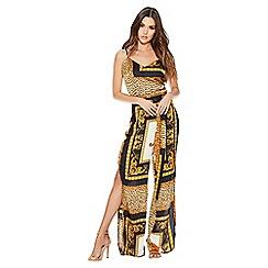 Quiz - Cream and gold satin strap scarf print jumpsuit