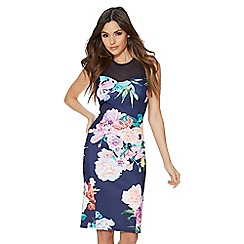 Quiz - Navy floral mesh midi dress