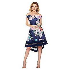 Quiz - Navy floral print bardot dip hem dress