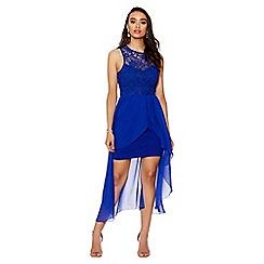 Quiz - Royal blue lace chiffon dip hem dress