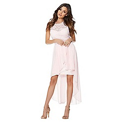 Quiz - Pink and lace chiffon dip hem dress