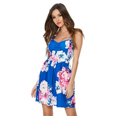 Quiz   Royal Blue Floral Print Skater Dress by Quiz