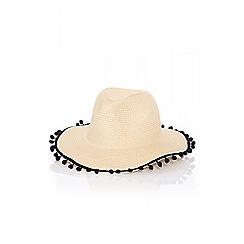 Quiz - Cream pom pom straw hat