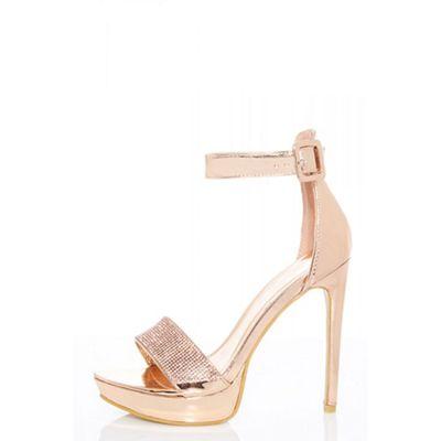 Quiz - sandals Rose gold metallic diamante sandals - ab5c45