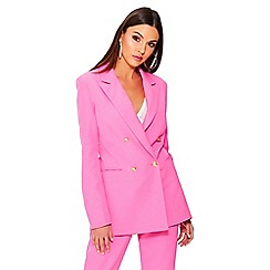Quiz - Hot pink gold button detail suit jacket