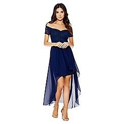 Quiz - Navy lace bardot dip hem dress