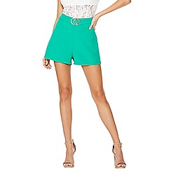 Quiz - Jade green blue buckle shorts