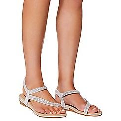 Quiz - Silver diamante slant strap flat sandals