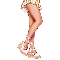 Quiz - White pu lace up wedge sandals