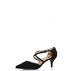 Quiz - Black faux suede low heel court shoes