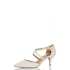 Quiz - Nude faux suede low heel court shoes