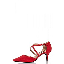 Quiz - Red faux suede low heel court shoes