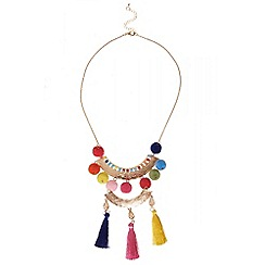 Quiz - Multicoloured pom pom statement necklace