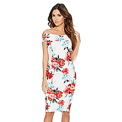 Quiz - Cream and coral floral dress
