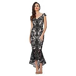 Quiz - Black and stone lace bardot dip hem dress