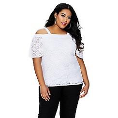 Quiz - Curve cream lace cold shoulder top