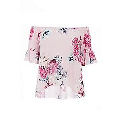 Quiz - Curve pink floral bardot top