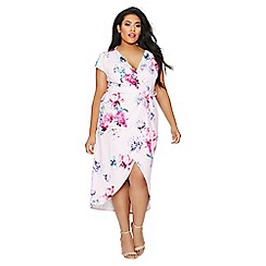 Quiz - Curve pink floral wrap dress
