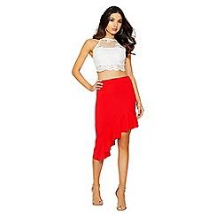 Quiz - Red asymmetrical high waist skirt